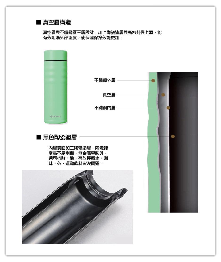 日本KYOCERA京瓷旋蓋陶瓷塗層不銹鋼真空保溫保冷杯