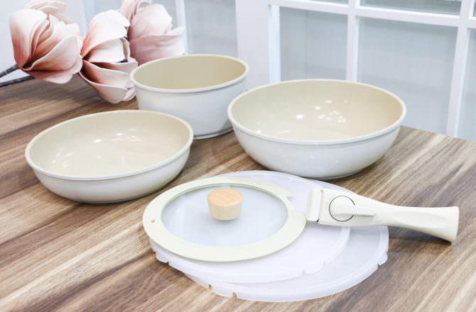 【團購】韓國Neoflam FIKA 可拆式陶瓷塗層鍋具七件組 好看、好用好收納~